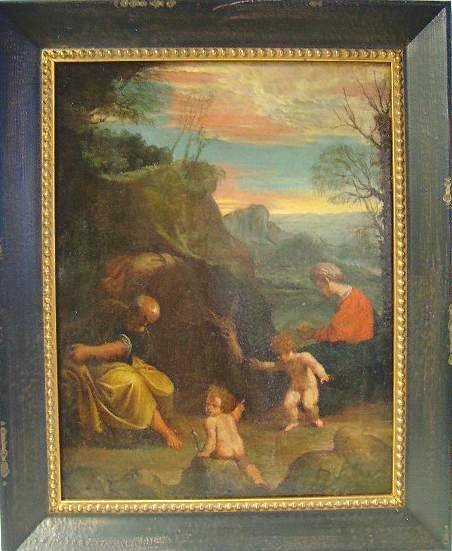 1004: OLD MASTER MARY'S FLIGHT TO EGYPT, OIL ON CANVAS,
