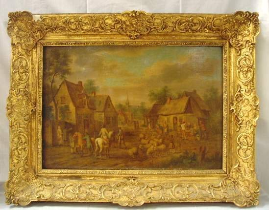 1006: 18TH C. FLEMISH  PAINTING COUNTRY VILLAGE