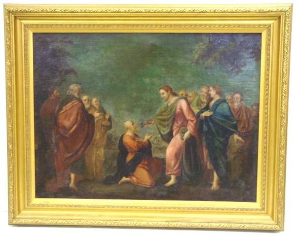 1007: FRENCH SCHOOL 18THC GENRE SCENE, OIL ON CANVAS, U