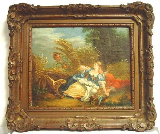 1010: 18THC ROMANTIC GENRE SCENE, OIL PAINTING