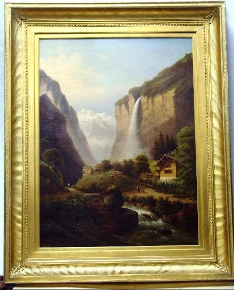 1014 19THC EUROPEAN PAINTING MOUNTAIN LANDSCAPE