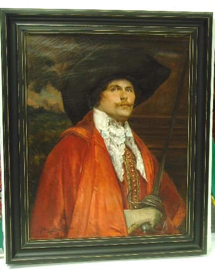 1017: A. DE ANDREIS OIL PAINTING SIGNED PORTRAIT