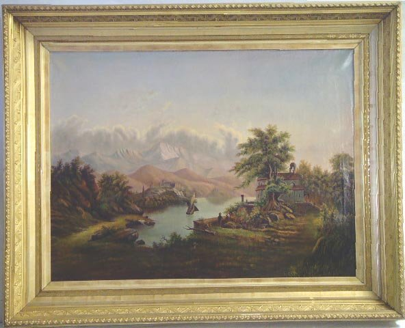 1020: EUROPEAN SCHOOL 19THC LANDSCAPE, OIL PAINTING