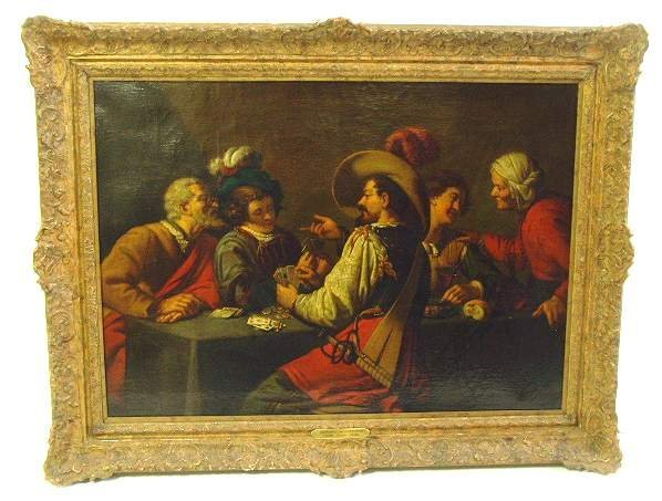 1022:  AFTER GERRIT VAN HONTHORST OIL PAINTING