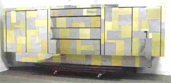 2340: PAUL EVANS SIGNED CITYSCAPE CREDENZA 4 DRAWERS FL