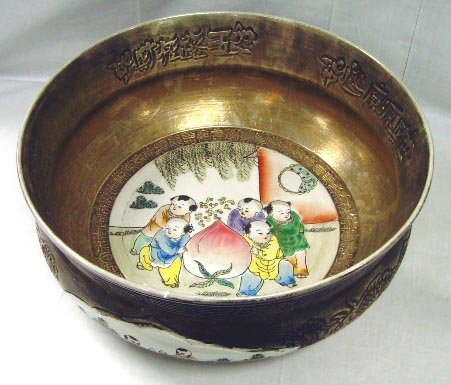 102: LARGE POLYCHROME DECORATED CHINESE BOWL - 15 1/2 X