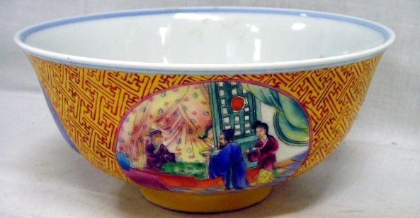 103: CHINESE YELLOW DECORATED PORCELAIN BOWL - 6 X 2 3/