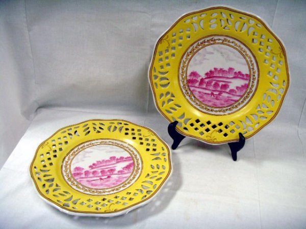 110: PAIR DECORATED YELLOW CHINESE RETICULATED PLATES -
