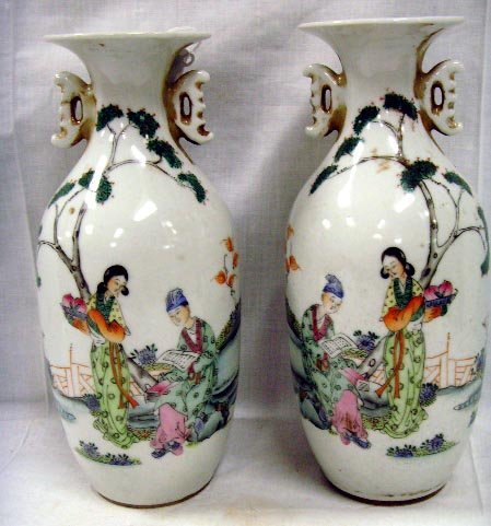 112: PAIR DECORATED CHINESE PORCELAIN VASES - EACH 8 1/