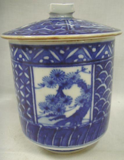114: COVERED BLUE AND WHITE ORIENTAL PORCELAIN CUP - 5