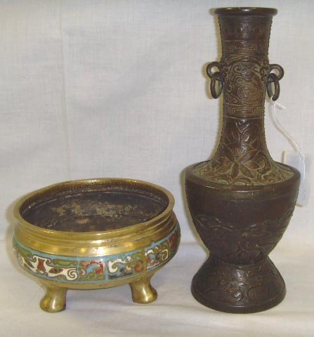 121: ORIENTAL BRONZE GROUP - VASE 8 1/4 TALL, FOOTED BO