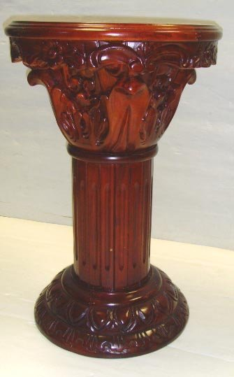 505: CLASSICAL CARVED MARBLE INSET PEDESTAL - 24 X 16