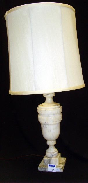 507: CARVED ALABASTER LAMP - 29 1/2 WITH SHADE