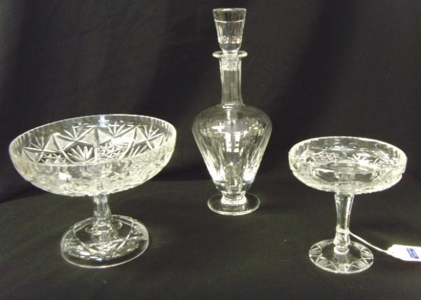 508: CUT GLASS GROUP - 3 PCS DECANTER WITH STOPPER 12 I