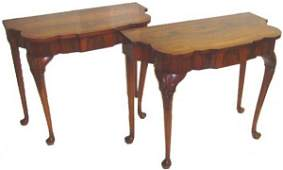 276 PAIR CUSTOM CARVED GEORGIAN STYLE CONSOLE TABLES