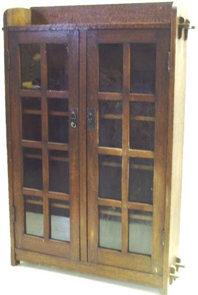 459: ARTS AND CRAFTS 2 DOOR BOOKCASE UNSIGNED - 56 1/2