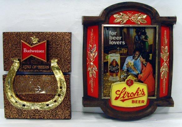502: STROHS / BUD VINTAGE BEER SIGNS - PLASTIC LARGEST