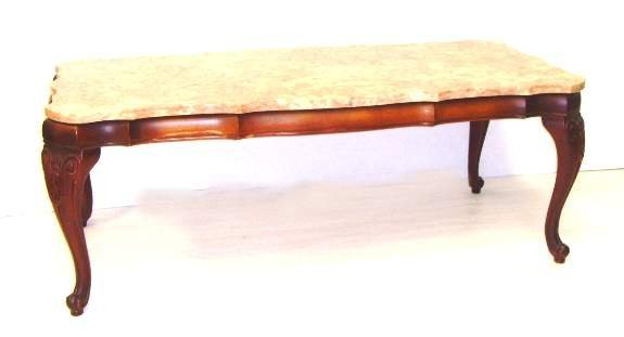 517: CARVED FRENCH MARBLETOP COFFEE TABLE - ALL OVER SH