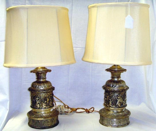 519: PAIR CLASSICAL STYLE FRENCH TABLE LAMPS SILVER PLA