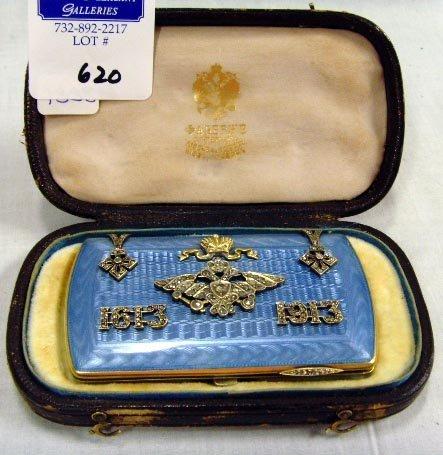620: RUSSIAN SILVER DIAMOND AND ENAMEL LADIES CIGARETTE
