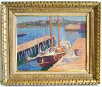 683 JANE PETERSON SIGNED OIL PAINTING SAIL SHIP AT DOC