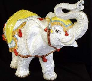 779: EARLY DECORATED CONTINENTAL TERRA COTTA ELEPHANT S