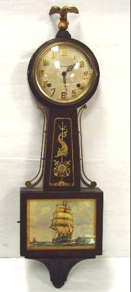 517B: INGRAHAM 8 DAY BANJO CLOCK WITH SAILING SHIP PRIN
