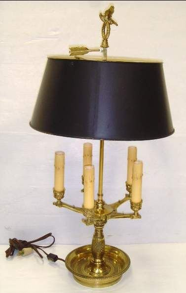 """509A: BRONZE BOUILETTE LAMP WITH TOLE SHADE, 27""""H"""