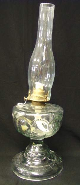 101: EARLY PEANUT OIL PATTERN GLASS LAMP - WITH REPLACE