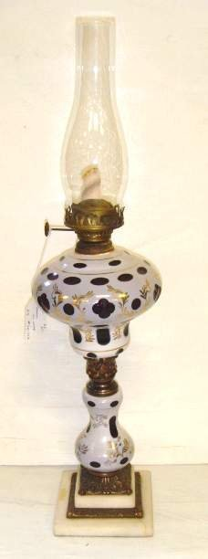 102: AUSTRIAN CUT BACK GLASS OIL LAMP WITH REPLACED CHI
