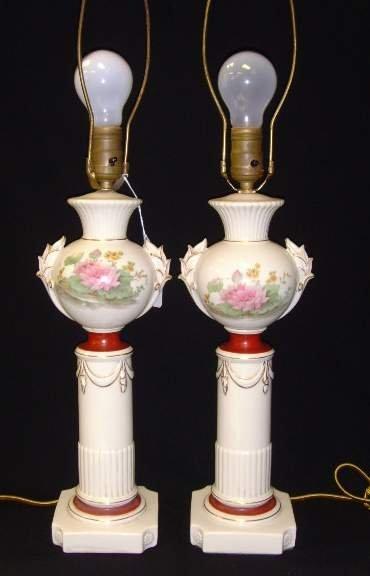 "104: PAIR CLASSICAL PORCELAIN LAMPS - 26"""