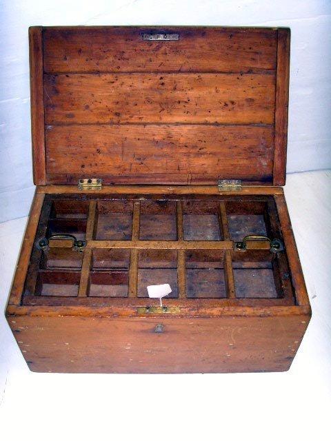 111: PRIMITIVE WOOD TOOL BOX - 22 X 10 X 13 1/2
