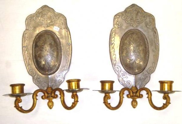 119: PAIR EARLY MIXED METAL WALL SCONCES - BRASS WITH P