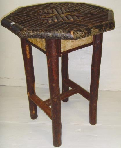 120:ADIRONDACK STYLE FOLK ART TABLE - 26 X 19 1/2