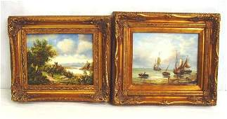 241 PAIR CONTEMPORARY OIL PAINTINGS  UNSIGNED EUROPEA