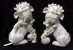 436: PAIR LARGE BLANC DE CHIN ORIENTAL FOO DOGS - SIGNE