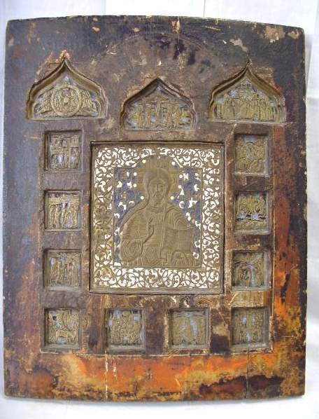 501: EARLY RUSSIAN ICON WITH ENAMEL BRONZE PLAQUES - 16