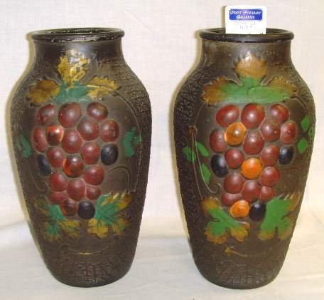 "604: PAIR GOOFUS GLASS VASES GRAPE PATTERN - 9"" MINOR P"