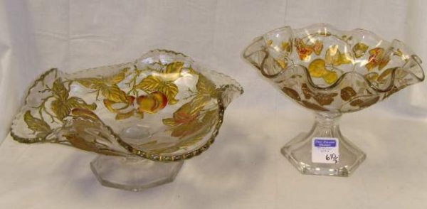 610: GOOFUS GLASS CANDY DISH GROUP - 2PCS FRUIT DESIGN