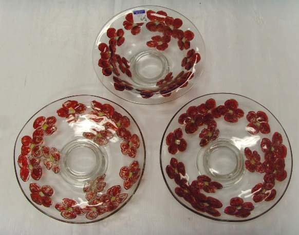 615: GOOFUS GLASS LARGE CENTER BOWL / TRAY LOT 3PCS - 2