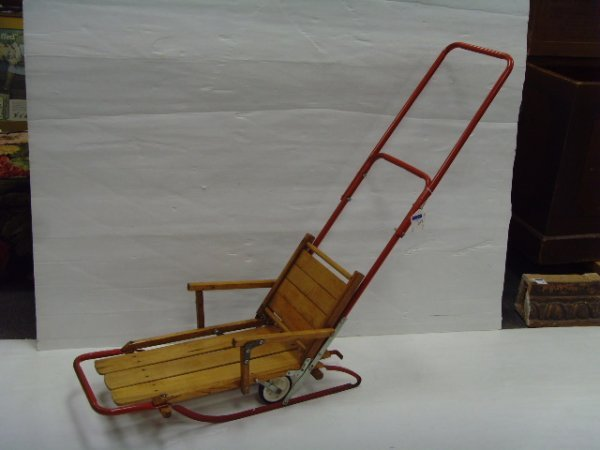 619: EARLY SLED WITH WHEELS - OVERALL 39 X 48 X 13