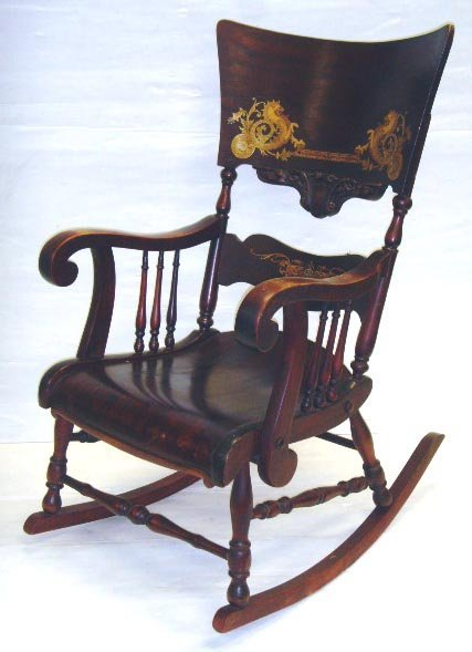 623: STENCILED GRIFFIN VICTORIAN ROCKING CHAIR - 41 X 2