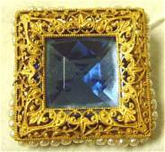 751 MIRIAM HASKELL SIGNED BROOCH GILT METAL WITH BLUE