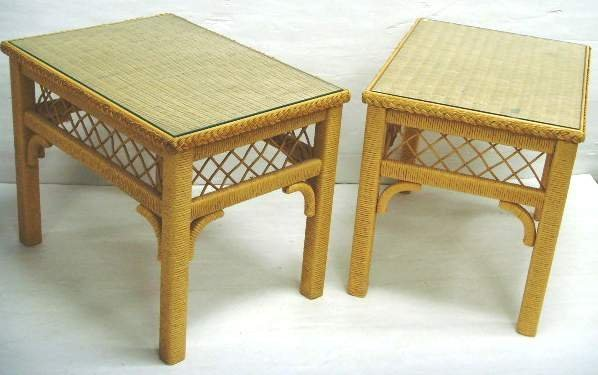 101: PAIR WICKER GLASS TOP LAMP TABLES - 21 X 19 X 26