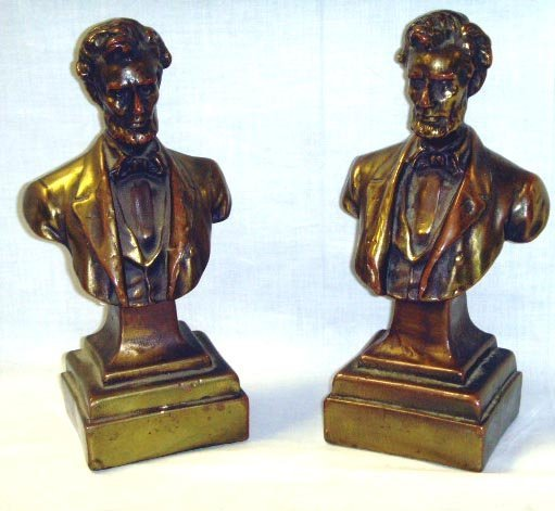 113: PAIR BRONZE CLAD FIGURAL BOOKENDS - ABRAHAM LINCOL