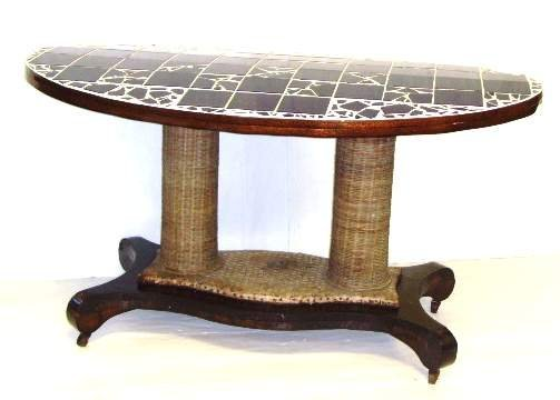 117: EMPIRE STYLE CENTER TABLE WITH TILE TOP - 28 X 49
