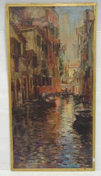 118: SIGNED OIL PAINTING VENETIAN CANAL SCENE ON CANVAS