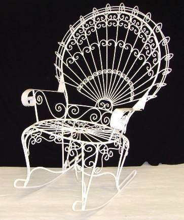 119: VICTORIAN WIRE ROCKING CHAIR OVER PAINTED - 46 X