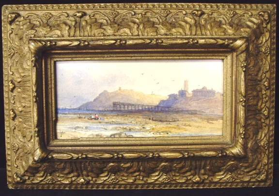 630: T. MORAN SIGNED WATERCOLOR, ENGLISH SEASCAPE WITH