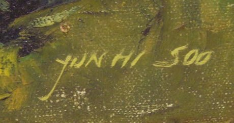 101: Yun Hi Soo signed Oil Painting - 2